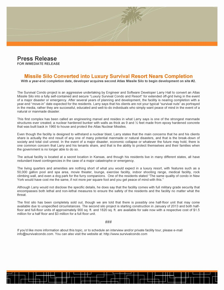 Sample Press Release Template Unique 47 Free Press Release format Templates Examples & Samples