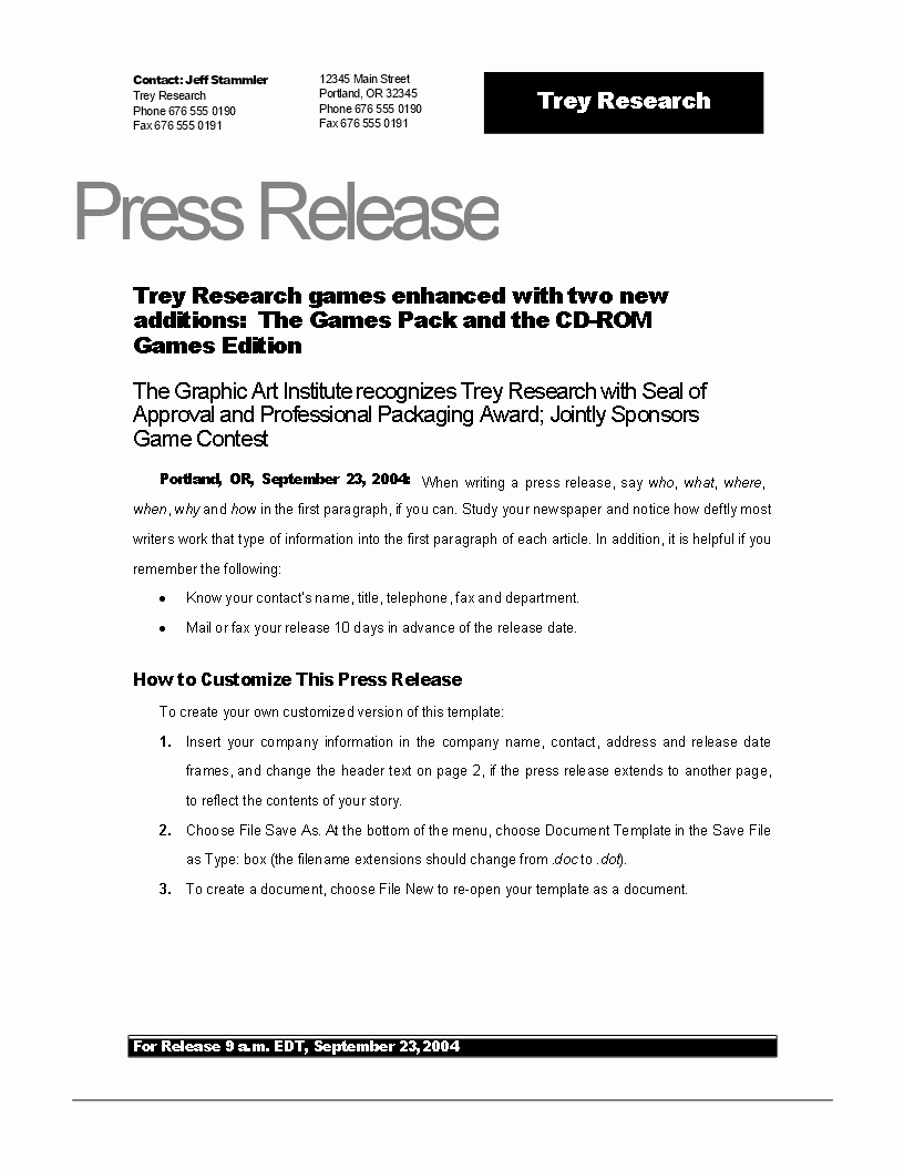 Sample Press Release Template Unique Free Press Release Example New Game
