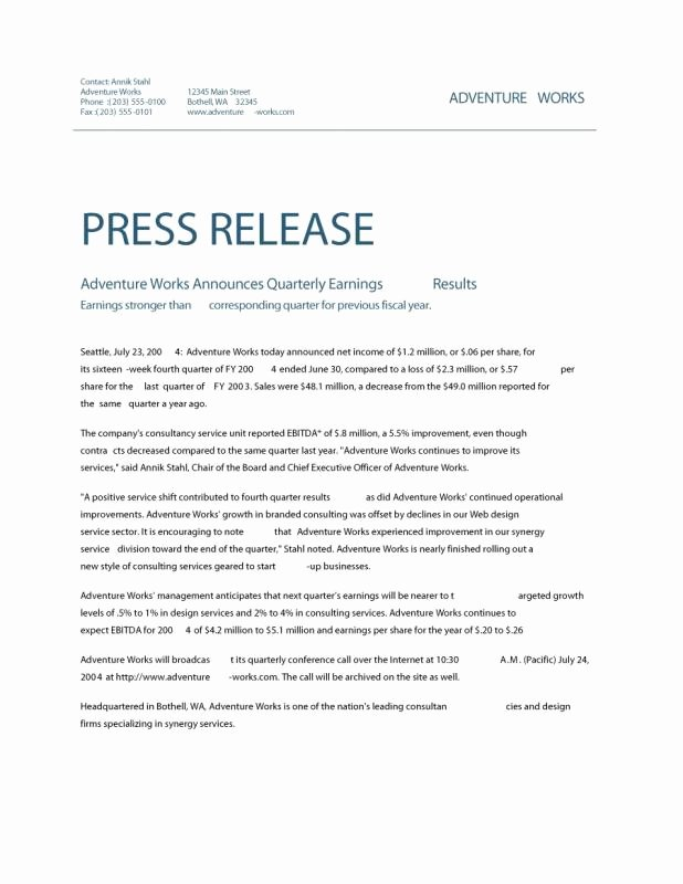 Sample Press Release Template Unique News Release format