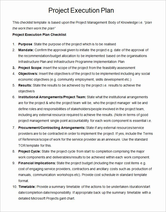 Sample Project Plan Template Beautiful 8 Project Execution Plan Template Doc Pdf Excel