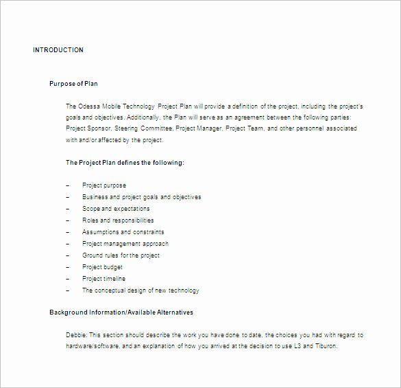 Sample Project Plan Template Elegant 23 Project Plan Template Doc Excel Pdf
