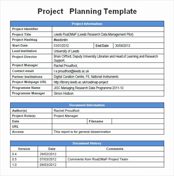 Sample Project Plan Template Inspirational Project Planning Template 5 Free Download for Word