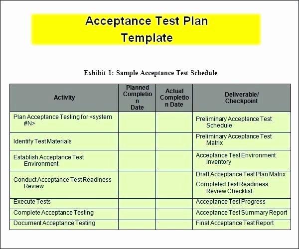 Sample Test Plan Template Best Of Template Excel En N S Test Plan for User Acceptance