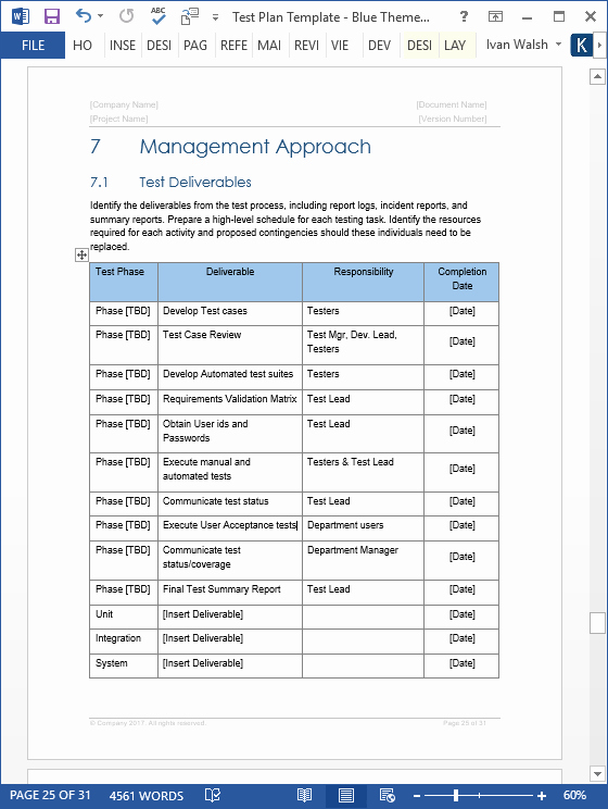 Sample Test Plan Template Best Of Test Plan – Download Ms Word & Excel Template