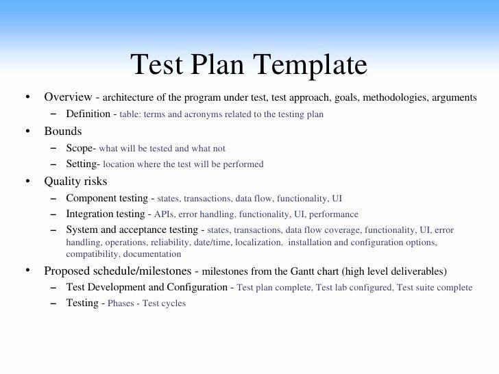 Sample Test Plan Template Elegant Sw software Qa Testing