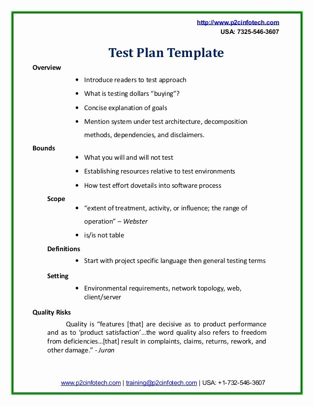 Sample Test Plan Template Luxury Sample Test Plan Doc