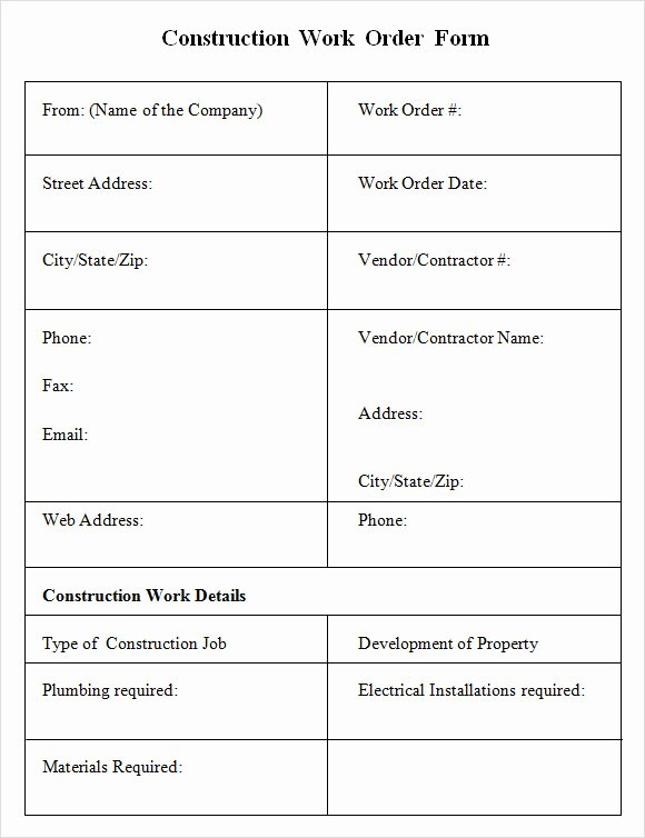 Sample Work order Template Fresh 6 Sample Construction Work order forms – Pdf