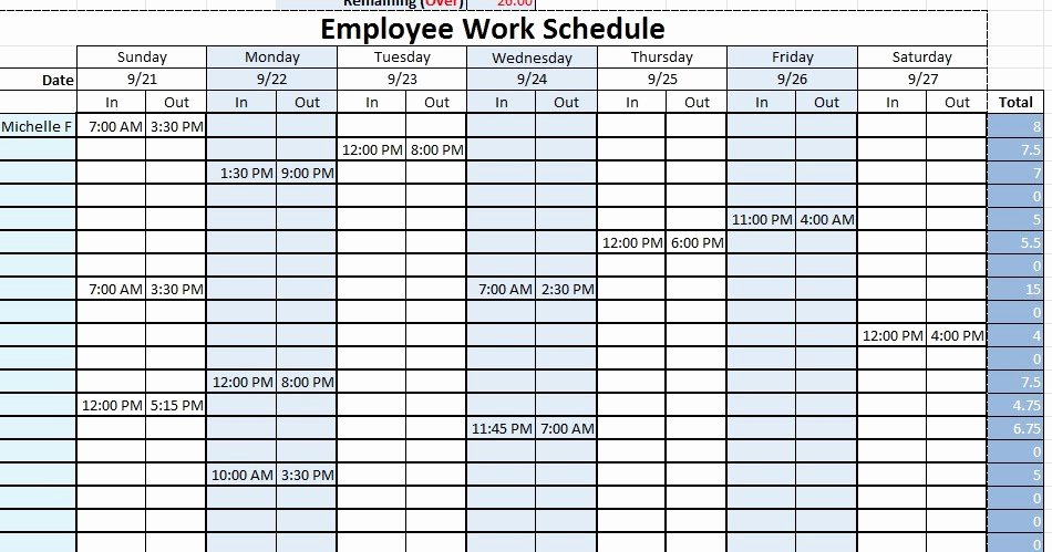 Sample Work Schedule Template Awesome Employee Work Schedule Template Sample