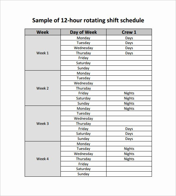Sample Work Schedule Template Fresh Shift Schedule Template 5 Download Free Documents In