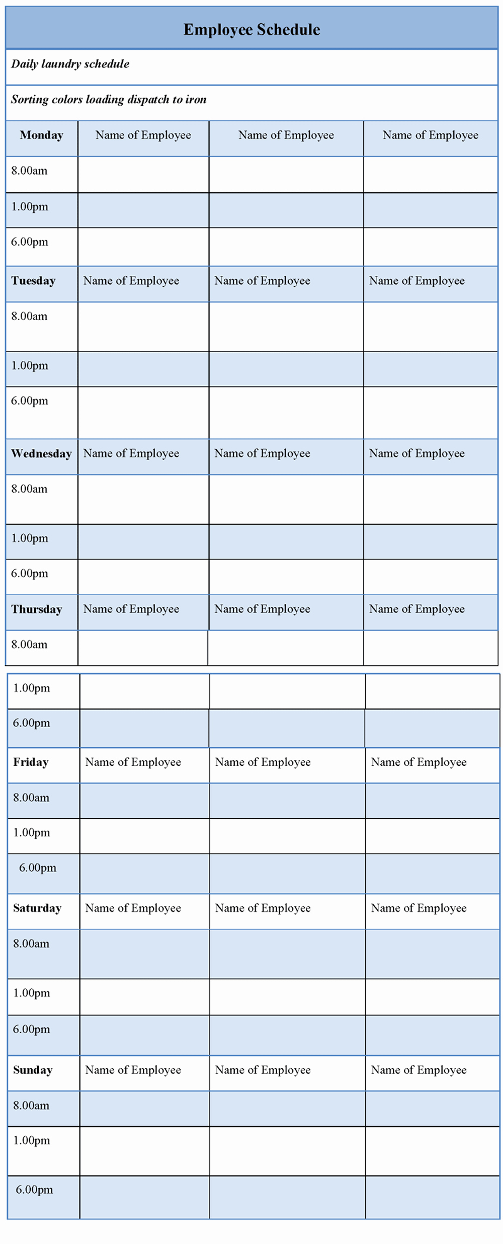 Sample Work Schedule Template New Employee Schedule Example Of Employee Schedule Template