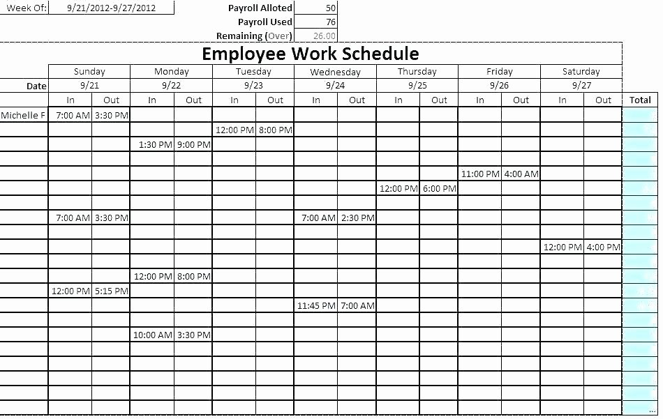 Sample Work Schedule Template New Monthly Duty Roster Template Free Download Excel format