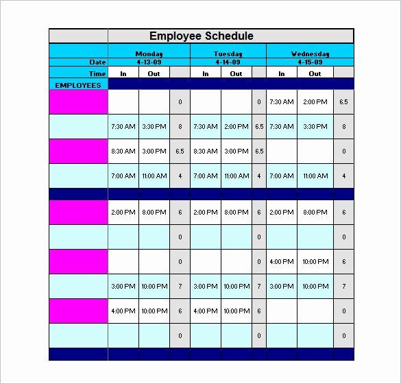 Sample Work Schedule Template Unique Staff Schedule Template 6 Free Sample Example format