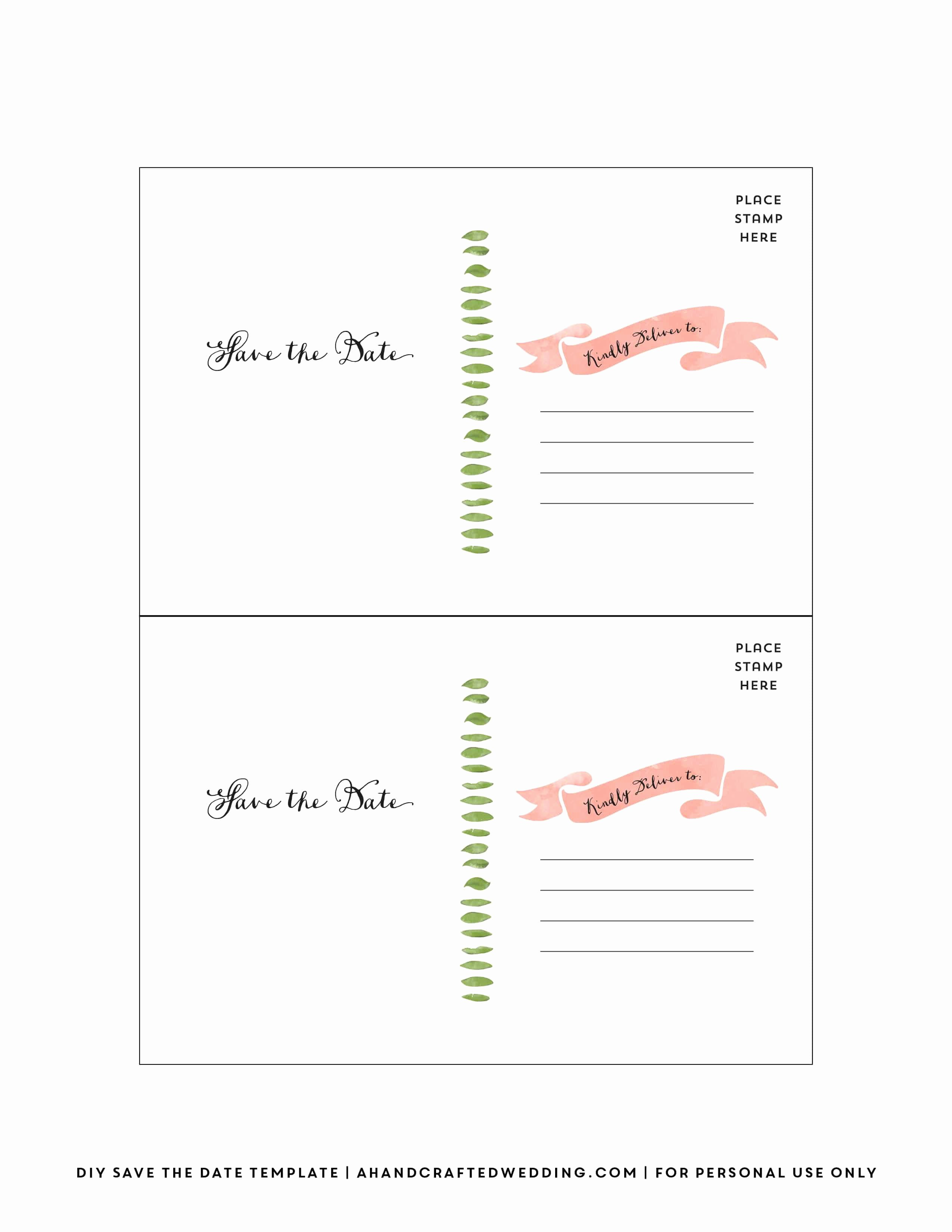 Save the Date Postcard Template Inspirational Diy Save the Date Postcard Free Printable