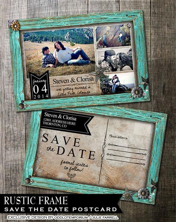 Save the Date Postcard Template Lovely Rustic Wedding Save the Date Rustic Turquoise by