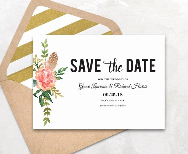 Save the Date Postcard Template Lovely Save the Date Template Floral Save the Date Card Boho