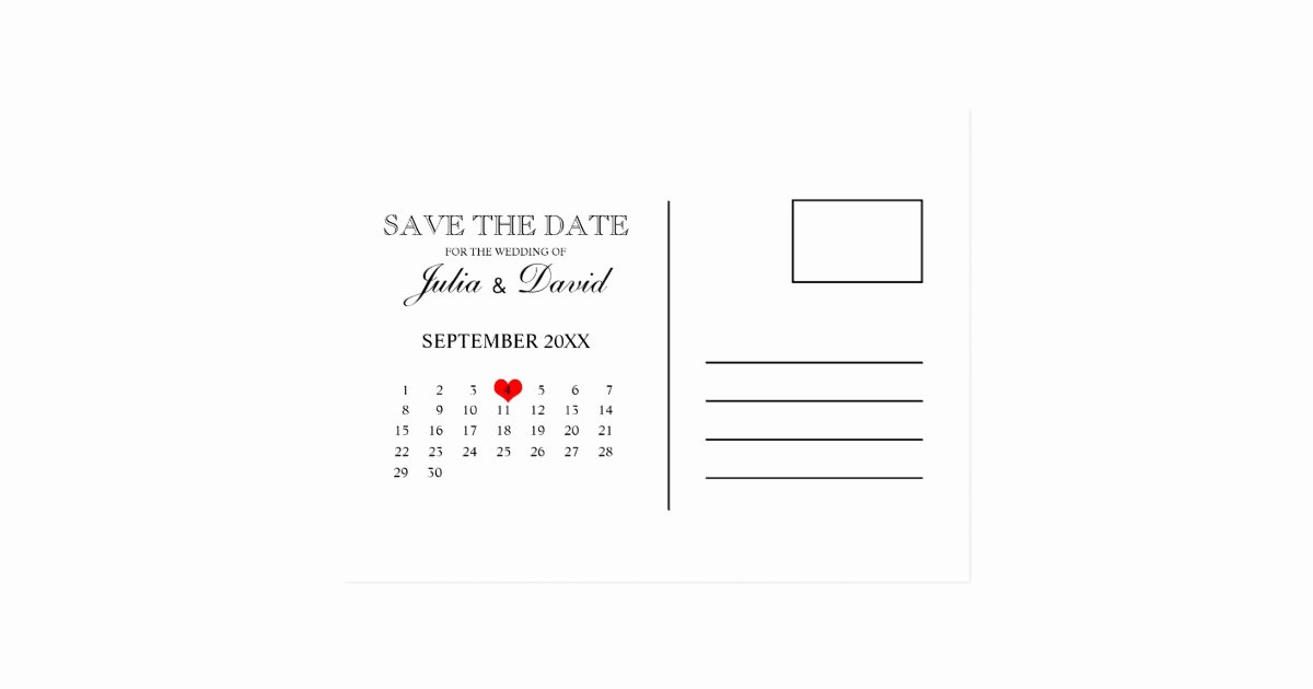 Save the Date Postcard Template Luxury Calendar Save the Date Postcard Template