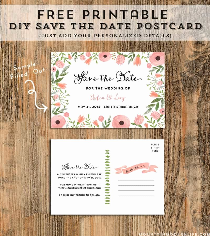 Save the Date Postcard Template New Diy Save the Date Postcard Free Printable