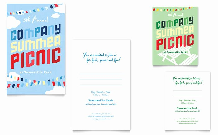 Save the Date Powerpoint Template Best Of Pany Summer Picnic Note Card Template Design