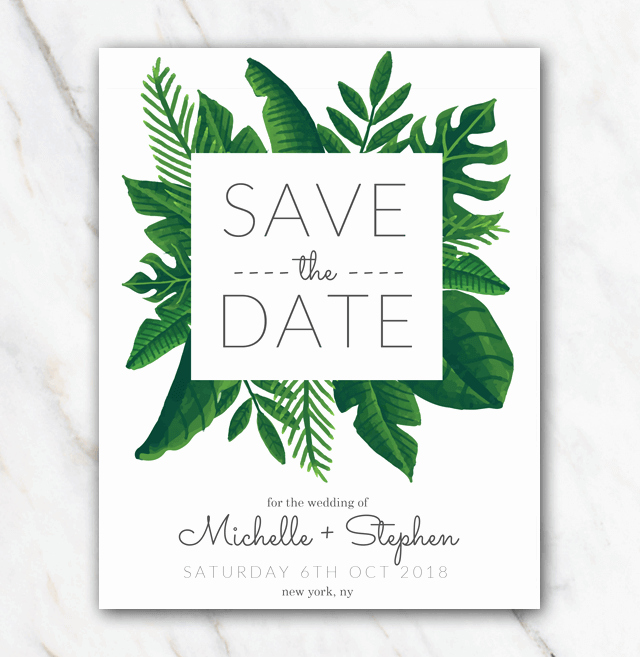 Save the Date Powerpoint Template Inspirational Tropical Green Wedding Save the Date Template Temploola