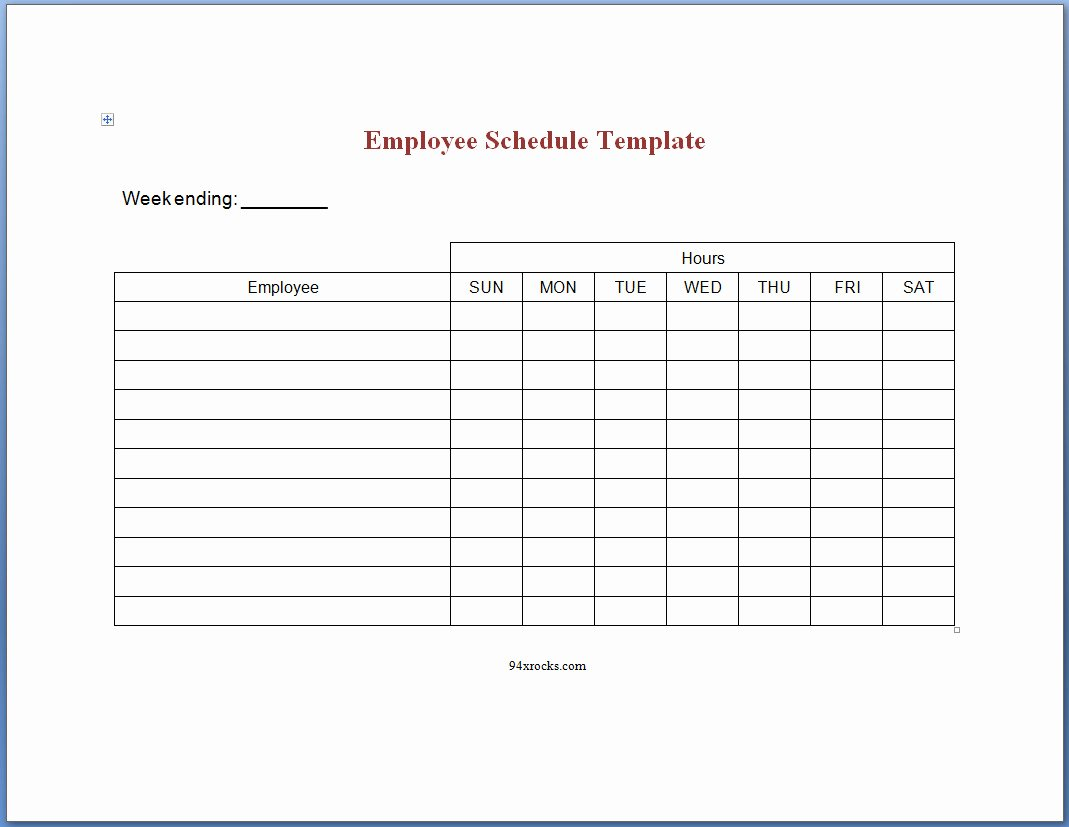 Schedule for Employees Template Awesome Printable Employee Schedule Templates Example Of