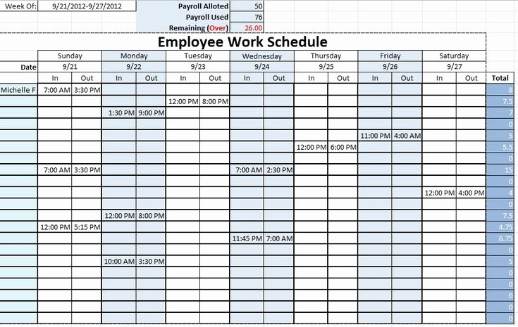 Schedule for Employees Template Beautiful Employee Work Schedule Template Sample