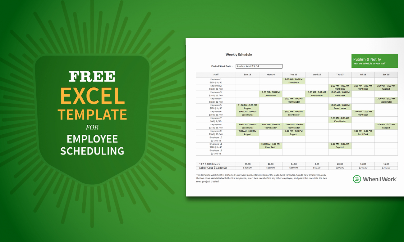 Schedule for Employees Template New Free Excel Template for Employee Scheduling when I Work