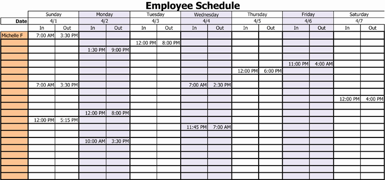Schedule for Employees Template Unique 3 Professional Work Schedule Templates for Employees