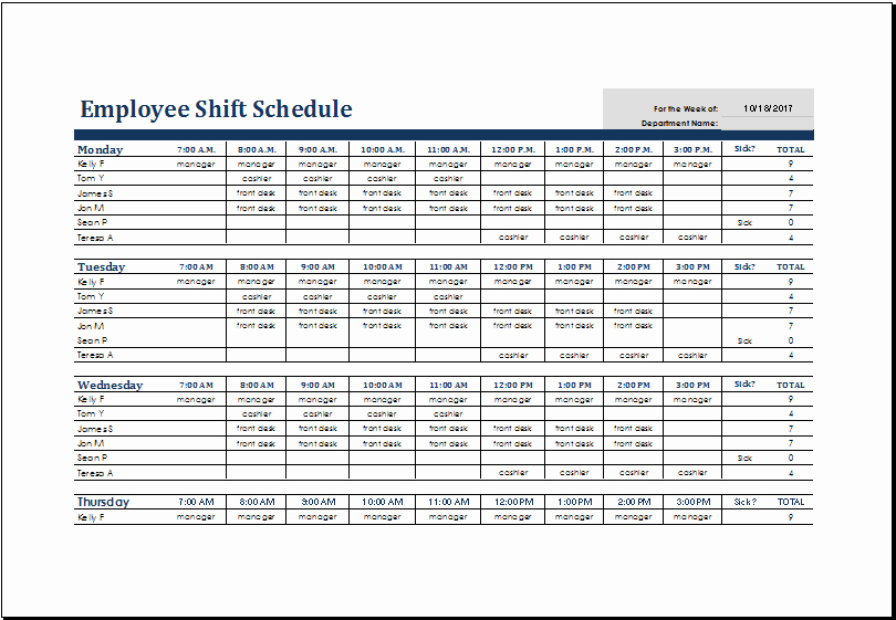 Schedule for Employees Template Unique Excel Shift Schedule Template