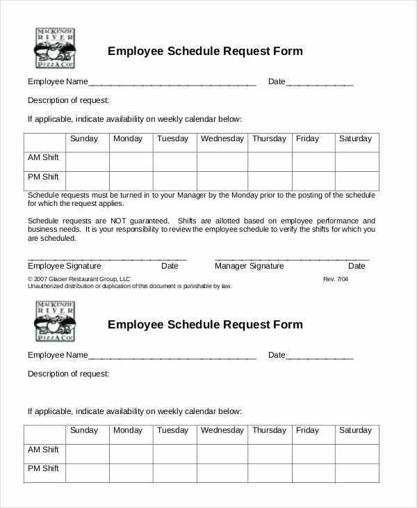 Schedule Of Availability Template Beautiful Simple Employee Schedule Template 7 Free Word Pdf