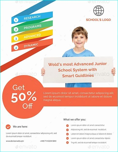 School Brochure Template Free Awesome 20 Professional Educational Psd School Flyer Templates