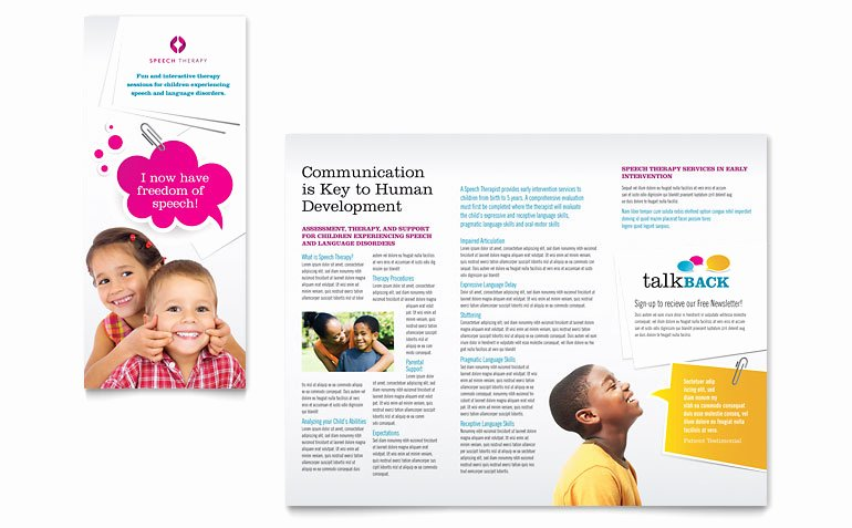 School Brochure Template Free Best Of Speech therapy Education Tri Fold Brochure Template Word