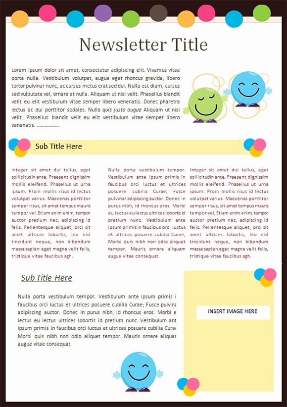 School Newsletter Template Free Elegant Kindergarten Newsletter Templates Free formats Excel Word