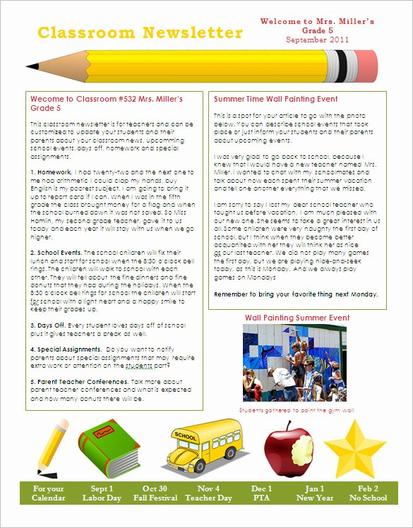 School Newsletter Template Free Fresh 27 Microsoft Newsletter Templates Doc Pdf Psd Ai