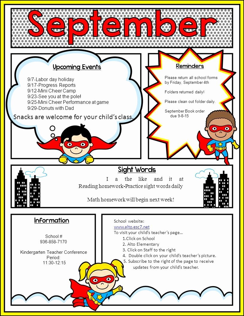 School Newsletter Template Free Inspirational Image Result for Superhero Newsletter Template