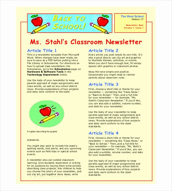 School Newsletter Template Free Luxury Classroom Newsletter Template – 9 Free Word Pdf