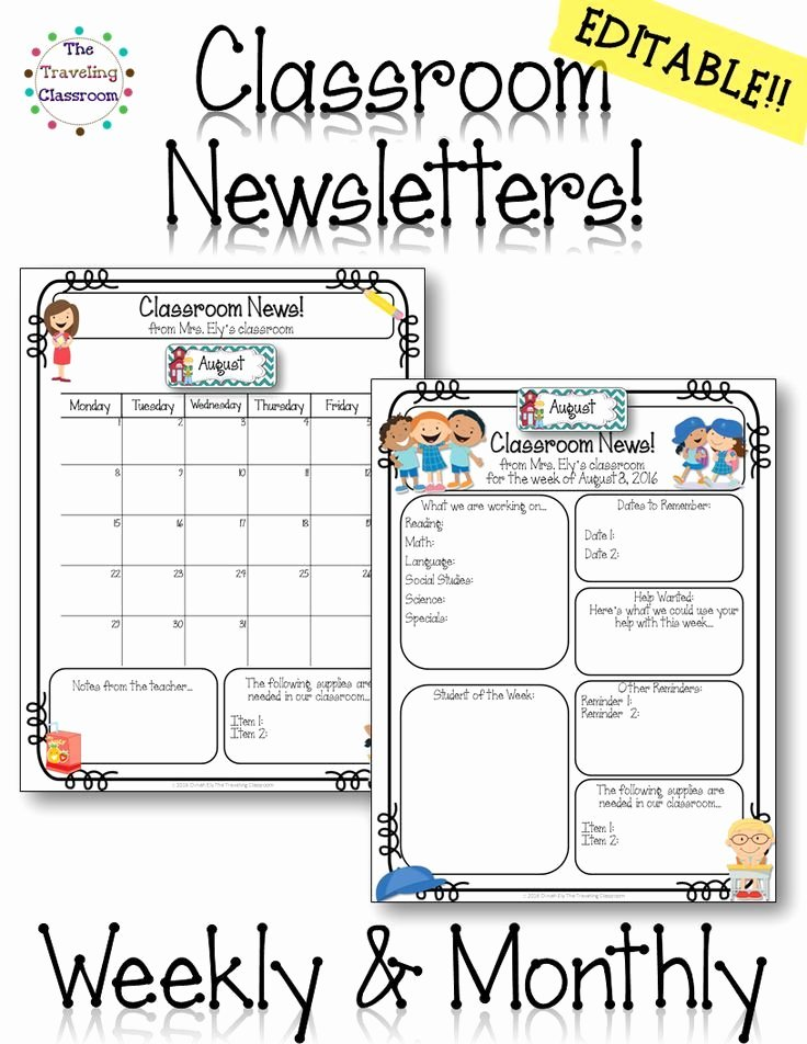 School Newsletter Template Free Luxury This Set Of Editable Classroom Newsletters Will Be Growing