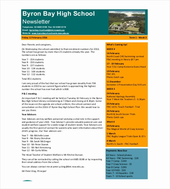 School Newsletter Template Free New 7 School Newsletter Templates Free Sample Example
