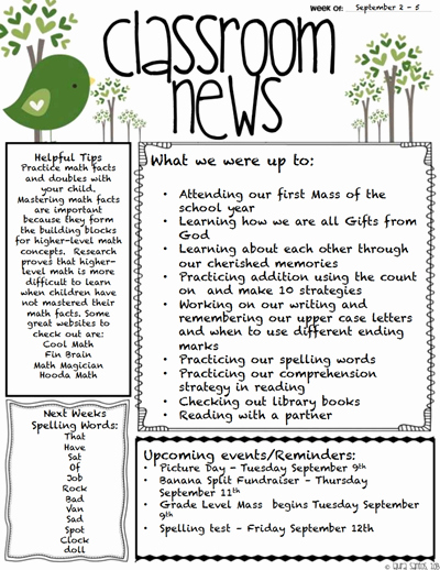 School Newsletter Template Free New Classroom Newsletter Template Download Create Edit