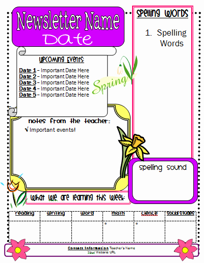 School Newsletter Template Free Unique Spring Newsletter Template Classroom Freebies