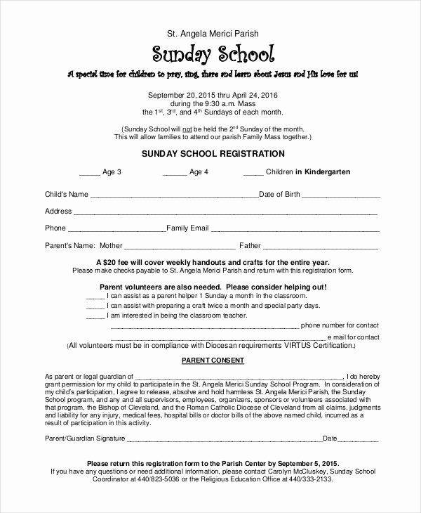 School Registration form Template Awesome Sunday School Certificate Template 8 Word Excel Pdf