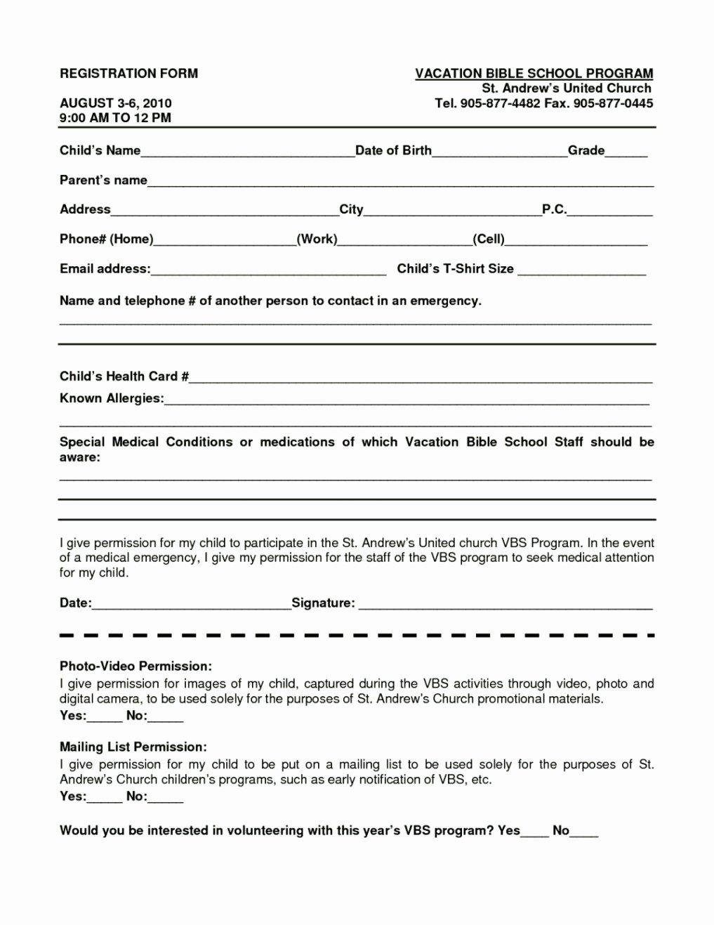 School Registration form Template Beautiful Bible School Registration form Template Template