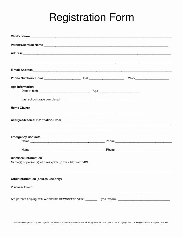 School Registration form Template Beautiful Registration form Child's Name