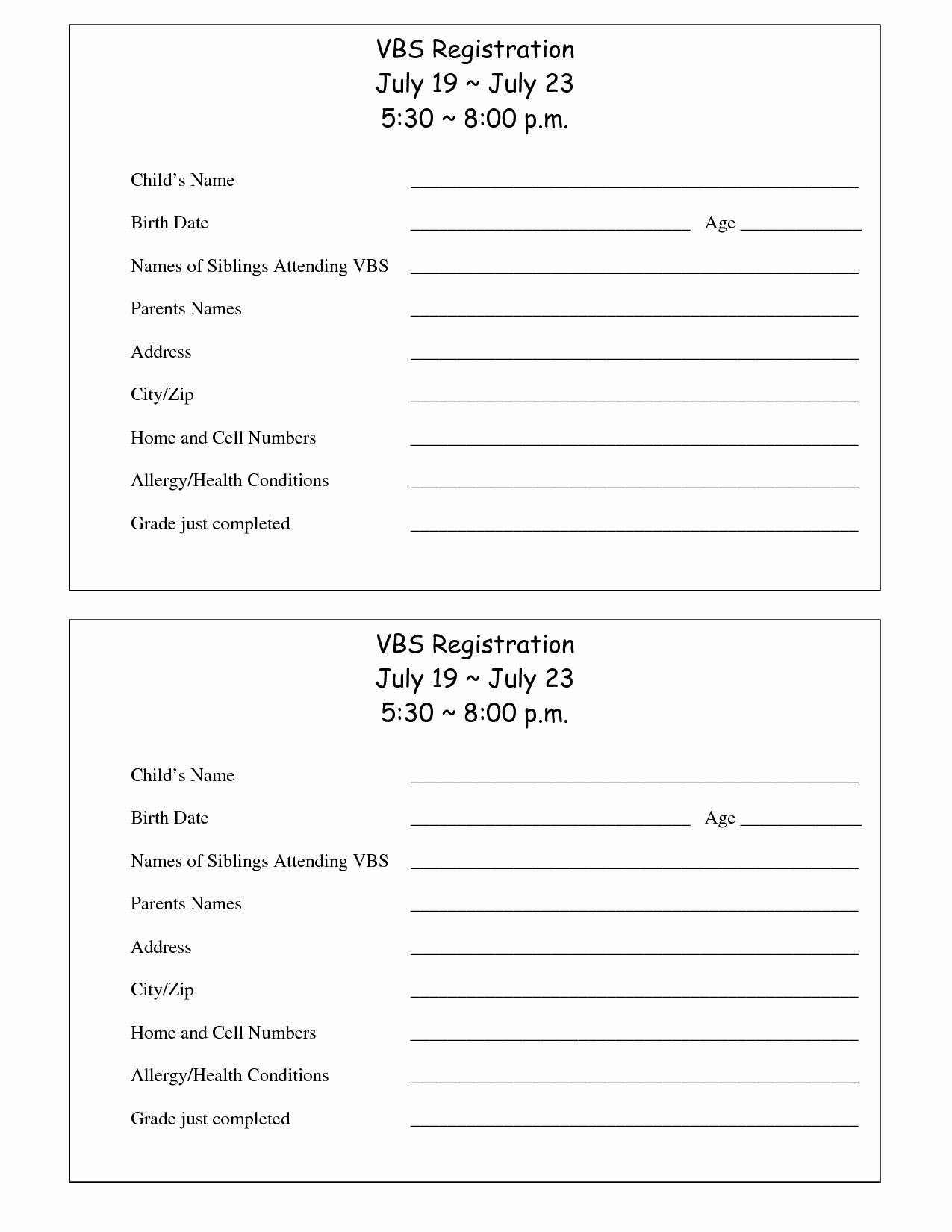 School Registration form Template Best Of Printable Vbs Registration form Template