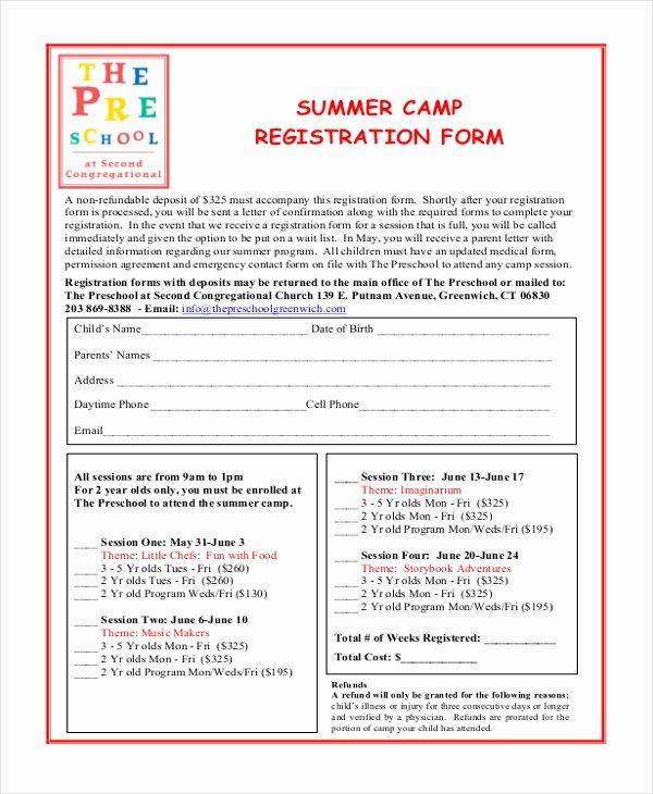 School Registration form Template Best Of Sample Summer Camp Registration form 10 Free Documents