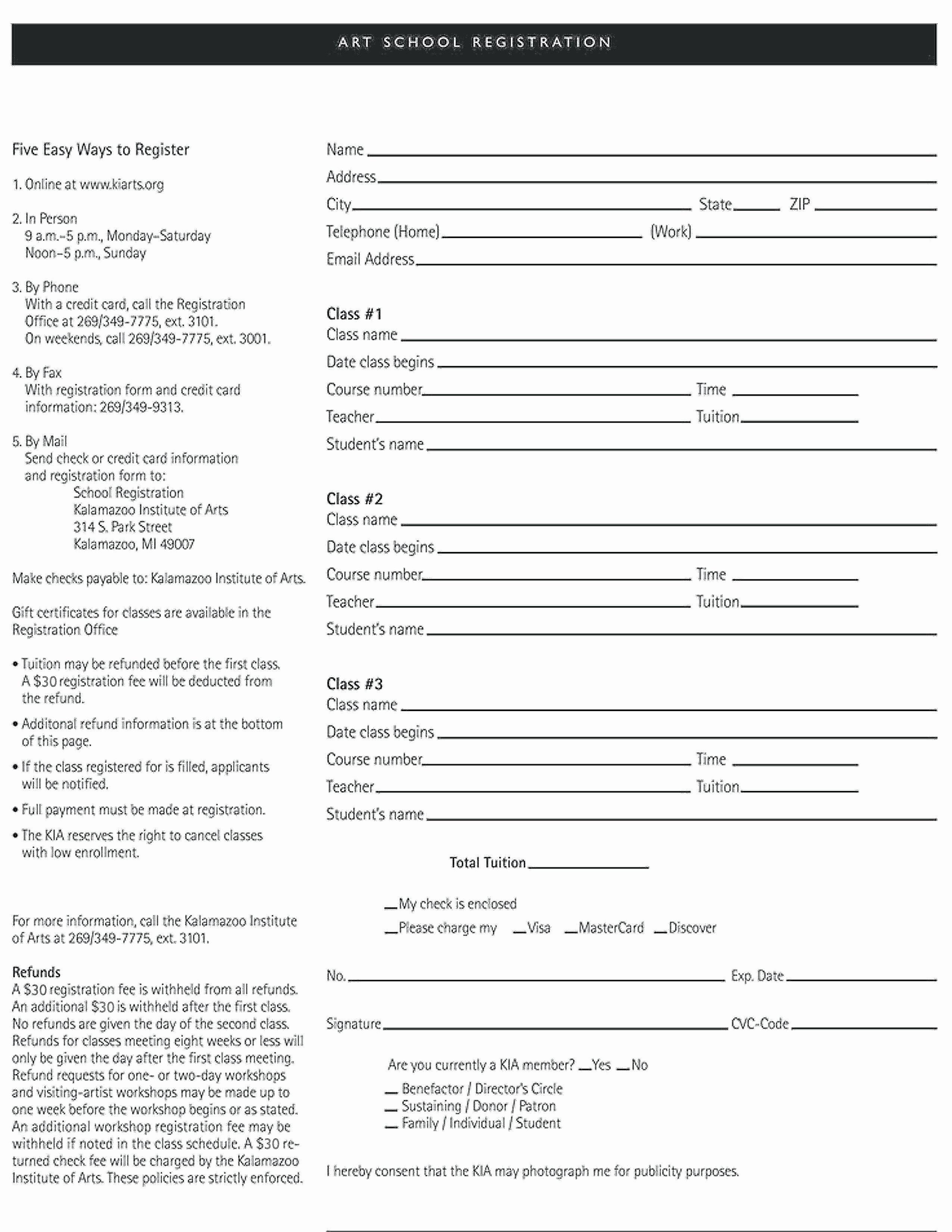 School Registration form Template New Template Enrollment form Template
