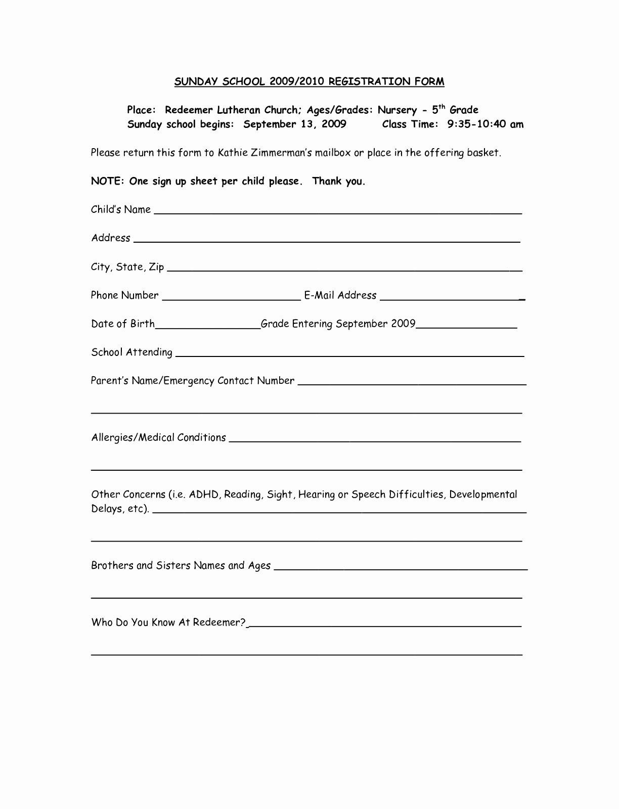 sunday school registration form template