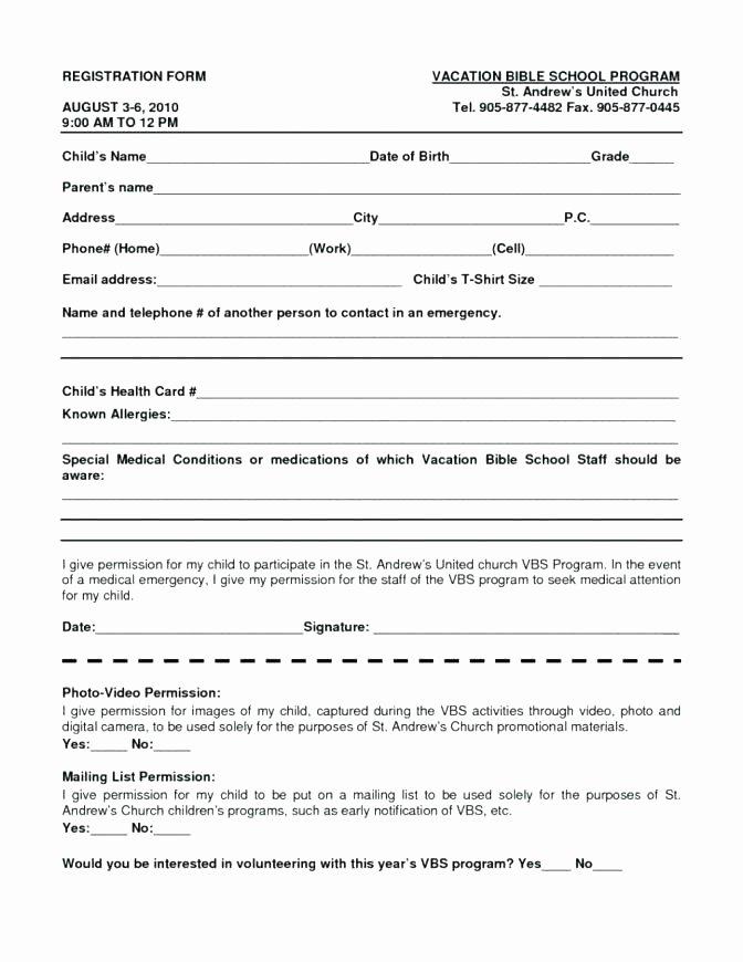School Registration form Template Unique Program Registration form Template