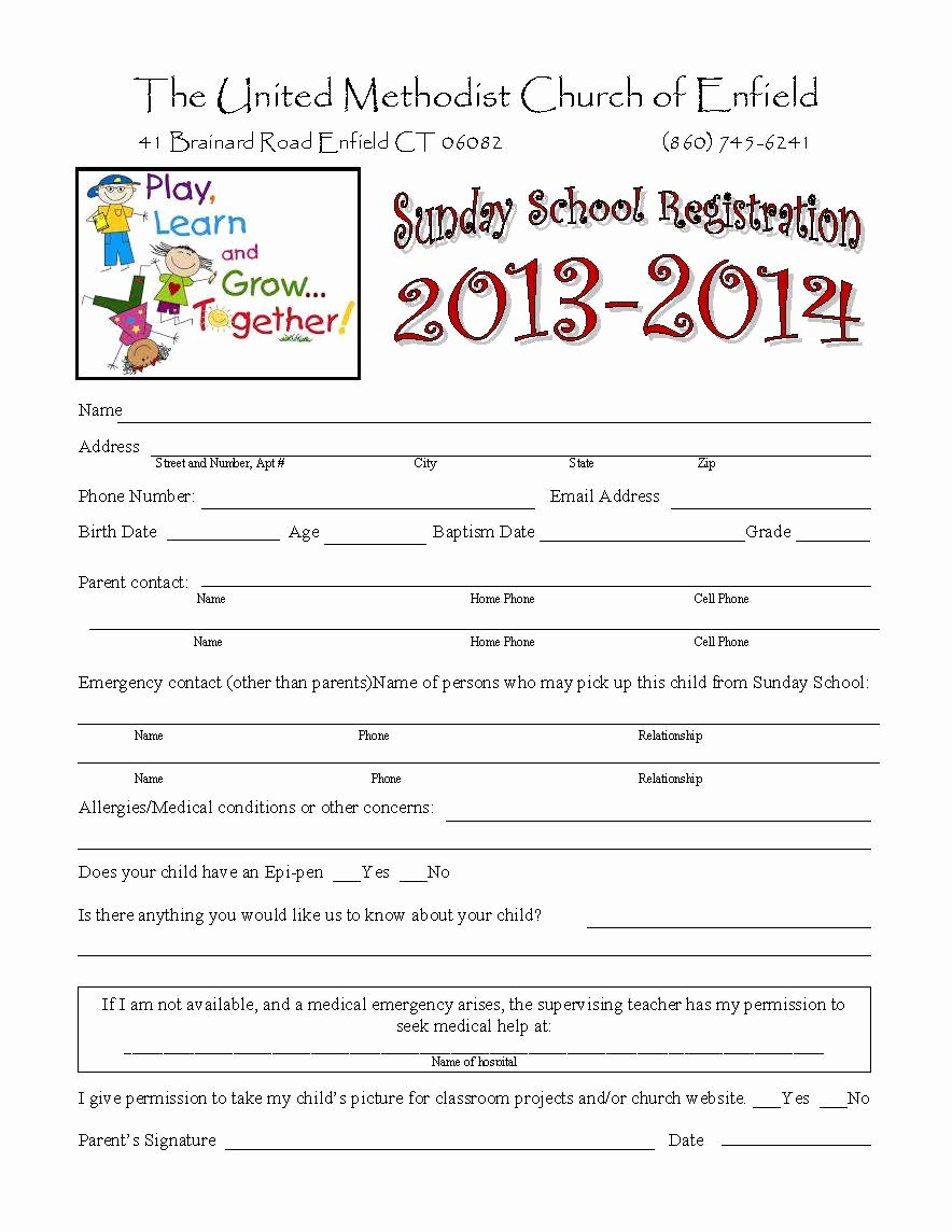 School Registration forms Template Best Of Church Nursery forms thenurseries
