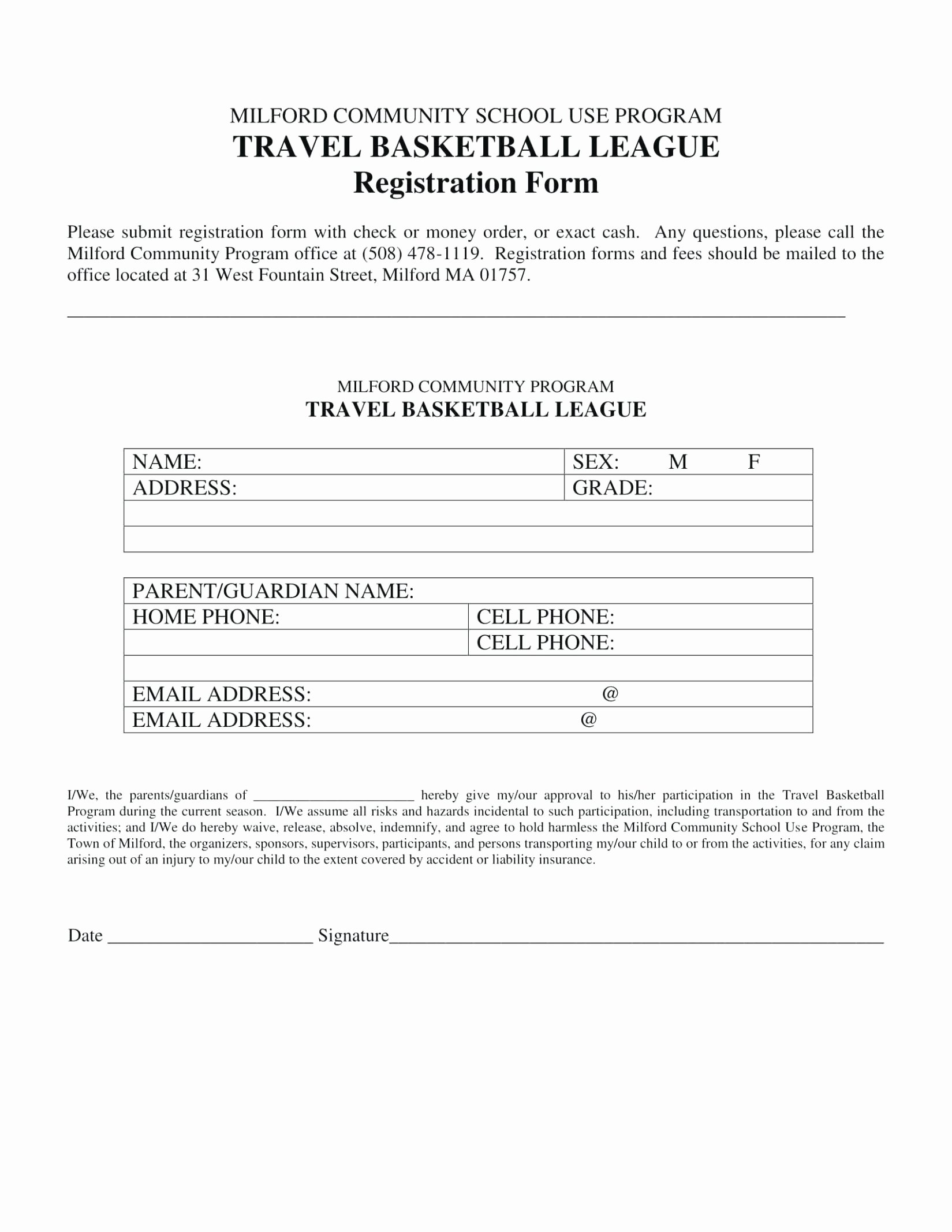 School Registration forms Template Best Of Sample School Registration form Sponsorship Packet