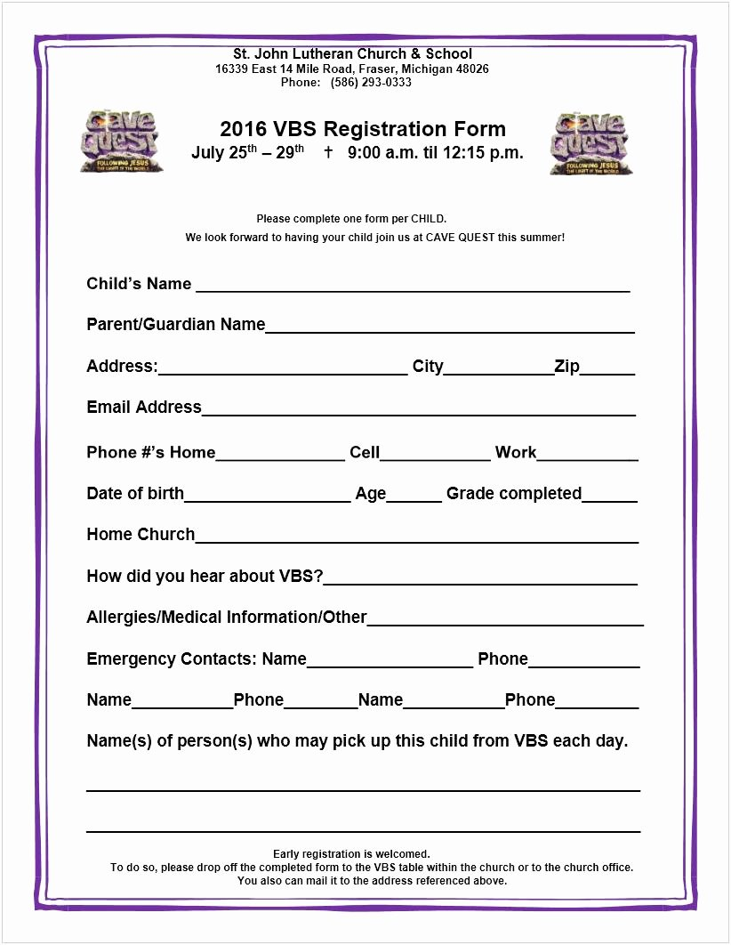 School Registration forms Template Best Of Vbs Registration form Saint John Lutheran Church & School